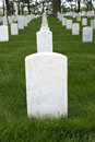 War memorial cemetery with blank tombstone grave marker or graveyard a Stock Photos