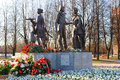 War memorial opening of the children near the piskaryovskoye cemetery on may in st petersburg russia Stock Photo