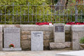 War memorials for suez canal crisis falklands and afghanistan with poppy rings in st ives cornwall england Stock Image