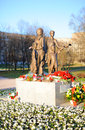 War monument opening of the children near the piskaryovskoye memorial cemetery on may in st petersburg russia Stock Photography