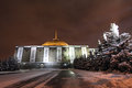 War museum on bow hill poklonnaya hill moscow russia by winter night Stock Photos