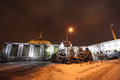 War museum on bow hill poklonnaya hill moscow russia by winter night Stock Photography