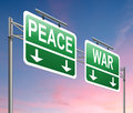 War or peace concept illustration depicting a sign with a Royalty Free Stock Photo