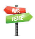 War and peace road sign illustration design over white Royalty Free Stock Photo