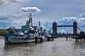 War ship museum Belfast, Tower Bridge, Thames, London, England Royalty Free Stock Photo