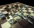 War strategies chessboard with pieces concept presentation of combat and Stock Photography