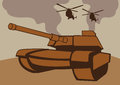 War with tanks and helicopters a scene vector illustration Stock Image
