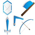 War tools this is a equipment that can be used for the children game there is shield axe sword bow and boomerang Stock Image