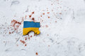 War in ukraine a ukrainian flag which exemplifies the bloody events kiev Royalty Free Stock Photos