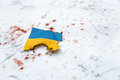 War in ukraine a ukrainian flag which exemplifies the bloody events kiev Royalty Free Stock Photography