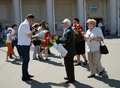 A war veteran receives flowers victory day celebration in the gorky park on may in moscow Stock Photos