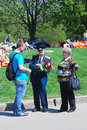 War veteran receives flowers from a young man victory day celebration in the gorky park on may in moscow Royalty Free Stock Photos