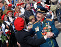 War veterans dance and sing songs on the theater square by the bolshoi theater traditional place for meeting taken on may Stock Image