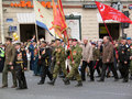 War veterans marching with flags victory day celebration on the nevskiy prospect military parade taken on may in saint petersburg Royalty Free Stock Images