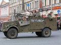 War veterans in old car at a military parade on the it s written for the motherland victory day celebration on the nevskiy Stock Photos