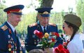 War veterans receive flowers from a girl victory day celebration in the gorky park on may in moscow Stock Image