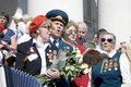 War veterans sing war songs moscow may victory day celebration in moscow Royalty Free Stock Image