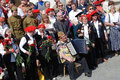 War veterans sing war songs on the theater square by the bolshoi theater traditional place for meeting taken on may in Royalty Free Stock Photography