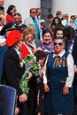 War veterans sing war songs on theater square in moscow may victory day celebration Stock Photography