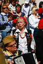 War veterans sing war songs a woman plays accordeon moscow may victory day celebration in moscow Stock Photo
