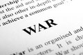 War the word shot with artistic selective focus Stock Photos