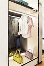 Wardrobe in the bedroom illuminated by led light Royalty Free Stock Images