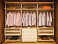 Wardrobe detail of built in with open shelves Stock Image