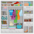 Wardrobe filled a variety of things Royalty Free Stock Images