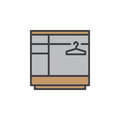 Wardrobe line icon, filled outline vector sign, linear colorful pictogram isolated on white.