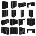 Wardrobe, mirror, wood and other icons of interior. Interior set collection icons in black style vector symbol stock