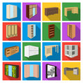 Wardrobe, mirror, wood and other icons of interior. Interior set collection icons in flat style vector symbol stock