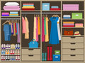 Wardrobe room full of woman`s cloths. Flat style vector illustration.
