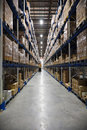 Warehouse aisle Royalty Free Stock Image