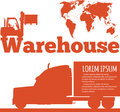 Warehouse banner with forklift truck silhouette