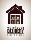 Warehouse delivery icon over black background vector illustration Royalty Free Stock Photo