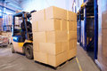 Warehouse forklift loader worker Royalty Free Stock Photo