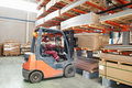 Warehouse forklift loader worker Stock Photo