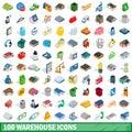 100 warehouse icons set, isometric 3d style