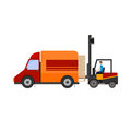 Warehouse illustration of loader truck loading cardboard boxes Royalty Free Stock Photo