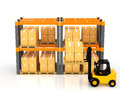 Warehouse image forklift to work in the Stock Photos