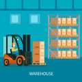 Warehouse Interior Colorful Composition Royalty Free Stock Photo