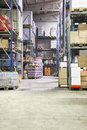Warehouse a interior with many shelves Royalty Free Stock Photos
