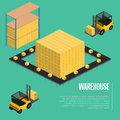 Warehouse isometric concept with forklift Royalty Free Stock Photo