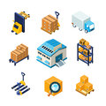 Warehouse and Logistics Equipment Icon Set. Flat