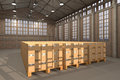 Warehouse with many boxes Royalty Free Stock Photos