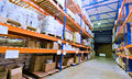 Warehouse and merchandise Royalty Free Stock Image