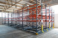 Warehouse mobile roller racking system in distribution Royalty Free Stock Image
