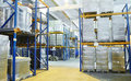 Warehouse with rack arrangement Royalty Free Stock Photos