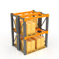 Warehouse racks with stacked boxes on pallets Stock Image