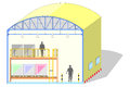 Warehouse shaped dome, canvas tent, storage section, vector illustration Royalty Free Stock Photo